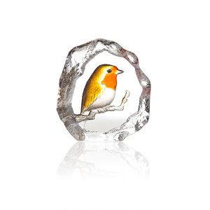 Robin glass sculpture by mats Jonasson, Sweden